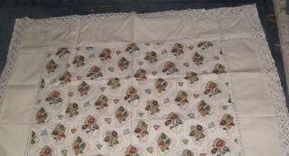 Bunte Tischdecke Mit Spitze 140 X 114cm Baumwolle,  50/60 - Iger Jahre Chabby Chic Bild