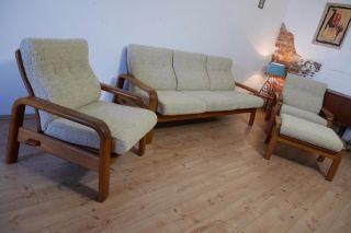 Massiv Teak Sofagarnitur 3er Sofa,  2 Sessel & Hocker 70er Jahre Danish Design Bild
