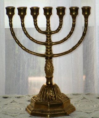 Älterer Jüdischer Kerzen - Ständer Leuchter Davidleuchter Messing Menora Bild