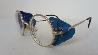 Vintage Runde Brille Mit Seitenschutz Leder Bild