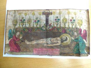 Andachtsbild Votivbild Um 800 Coloriert Leider Gefaltet Und 2 Einriße Gr.  29 X Bild