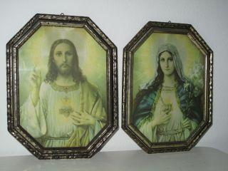 Antik 2x Heiligenbild Schutzbild Maria,  Jesus Flammendes Herz Shabby Bild Nr.  3 Bild