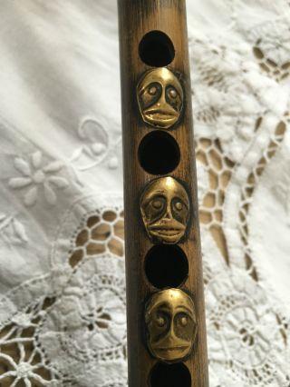 Seltene Alte Asiatische Affen Bambus Flöte Um 1900jh Kuriose Rarität Aus China Bild