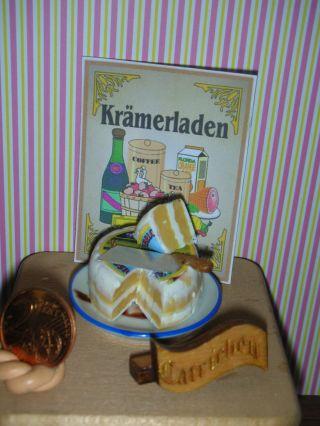 Doppelbrie Auf Einem Porzellanteller Mit Käsebeil/puppenküche/catrichen Ab 1:10 Bild