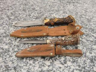 2 Sammler - /jagd - Messer Decora Solingen D.  B.  G.  M,  Solingen Germany,  Lederscheide Bild