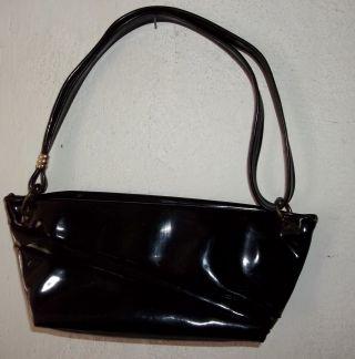 Alte Tasche - Damentasche - Schwarz - Lack - Bügeltasche - 50 - 60er Jahre Bild