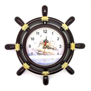 Maritim Steuerrad Wanduhr Uhr Steuerraduhr Boots - U.  Schiffssteuerrad Kunststoff Bild