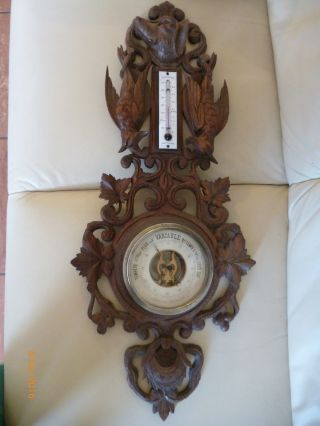 Antikes Jagdliches Barometer Holz Geschnitzt Um 1880 Nachlass Bild