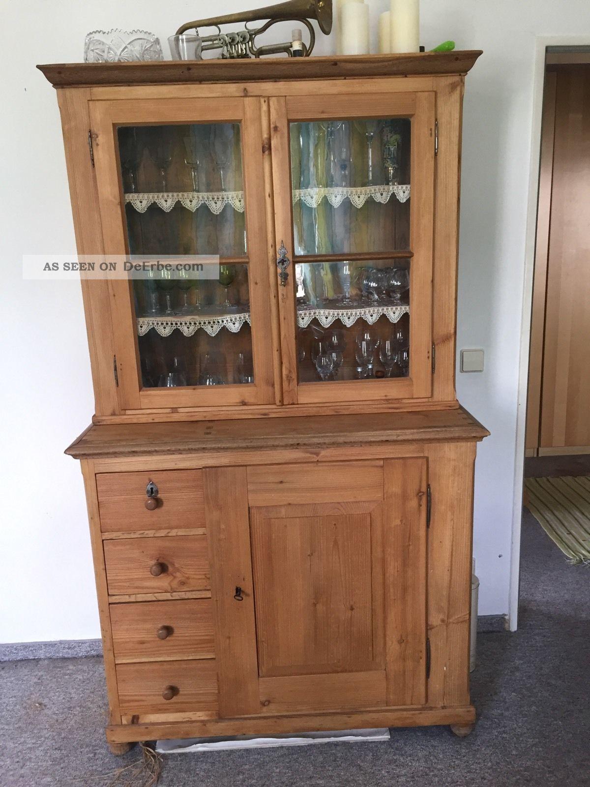 vitrinenschrank buffetschrank weichholzschrank antik. Black Bedroom Furniture Sets. Home Design Ideas