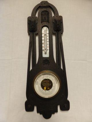 Thermometer Barometer Wilhelm Maess Antik Jugendstil Wetterstation Holz Bild