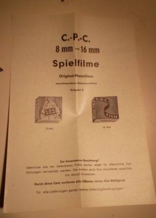 C.  - P.  - C 8mm Und 16mm Spielfilme Liste Um 1950 Bild