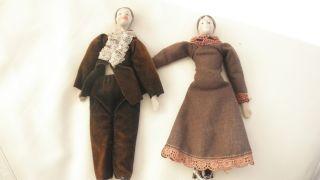 Antike Brustplatt Biskuitpuppen Paar Um 1900 Puppenstube Puppenhaus Bild