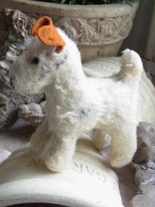 Alter Kleiner Terrier Hund Stofftier Für Die Puppenstube Bild