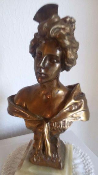 Schwere Bronze - Figur - Skulptur Auf Marmorsockel Villanis Bild