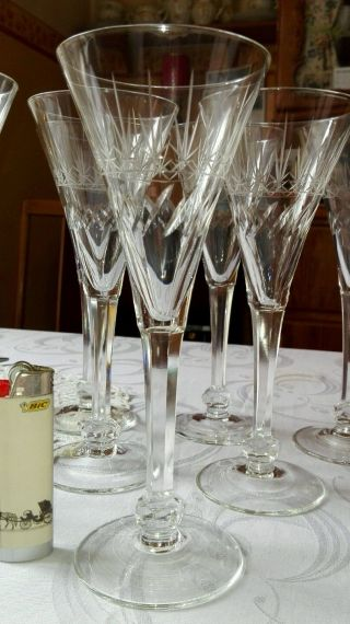7 Antike Sektflöten Glas - Kristall Im Fuss Schliff ähnl.  Peill Treveris Jugendstil Bild