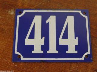 414 Antike Hausnummer Altes Emailschild Erhabene Schrift Blau Weiß 414 Bild