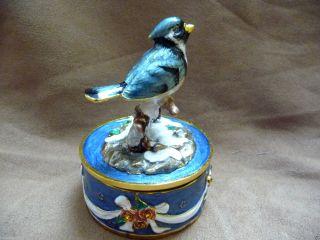 Blue Bird Vogel Mit Spieluhr Musikspieldose Ca.  7,  7 Cm Musik Tanz Der Zuckerfee Bild