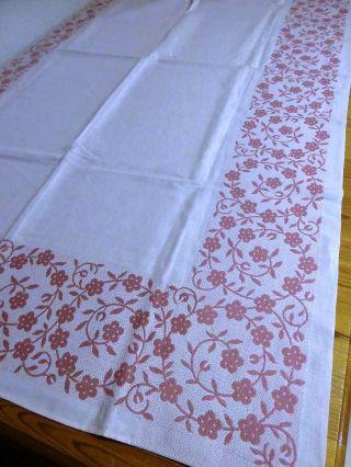 Halbleinen - Tischdecke,  98 X 162 Cm,  Zart - Rosa,  Einwebmuster In Rosa Bild