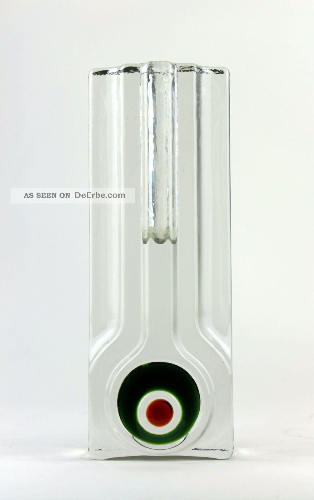 Vintage 70er Große Walther Glas Vase Solifleur Blockvase Pop - Art Design 1970-1979 Bild