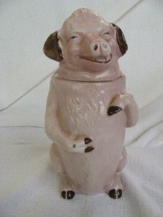 Porzellan Deckeldose Tabaksdose ScherzgefÄss Jugendstil Art Nouveau Pig Schwein Bild