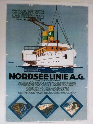 Maritim Plakat Poster Reederei,  Nordsee - Linie,  Repro V.  1925 - Rarität Bild