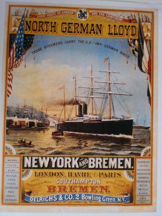 Maritim Plakat Poster Reederei Ndl Bremen,  Farb - Repro V.  1883 - Selten Bild