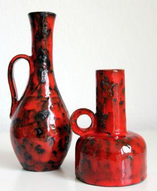 Rrk Rhein Ruhr Keramik Fat Lava Vase 206,  505,  Vintage,  60er,  70er,  Rot - Schwarz Bild