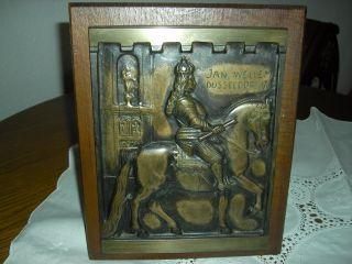 Jan Wellem Skulptur - Messing / Bronze Auf Holz - Bild Zum Aufhängen Bild