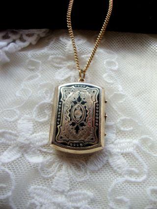 Jugendstil Anhänger, Foto Medallion, Gold Double, Schwarze Emaille, Kette  50 Cm Bild 99e30fd603
