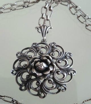 Silberschmuck Silberanhänger Rose An Langer Silberkette Beides 835 Silber (61) Bild