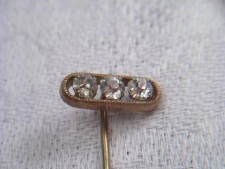 Art Deco Krawattennadel Metall Vergoldet Strass Perlrand