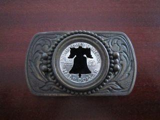 Schöne Vintage Gürtelschnalle Mit Usa Franklin Half Dollar Aus Silber Bild