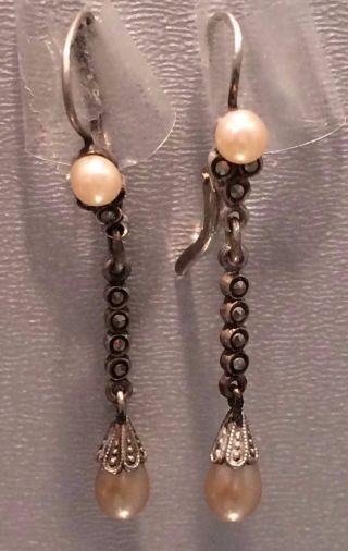 Antike Ohrhänger Mit Perlen Und Markasiten Jugendstil 835er Silber - Sehr Hübsch - Bild