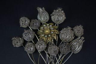 14 Antike Haarnadeln Hutnadeln Silber Biedermeier Tracht Bild