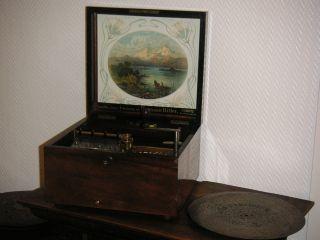 Antike Polyphon Spieluhr 5 Blechplatten 28cm Antique 11