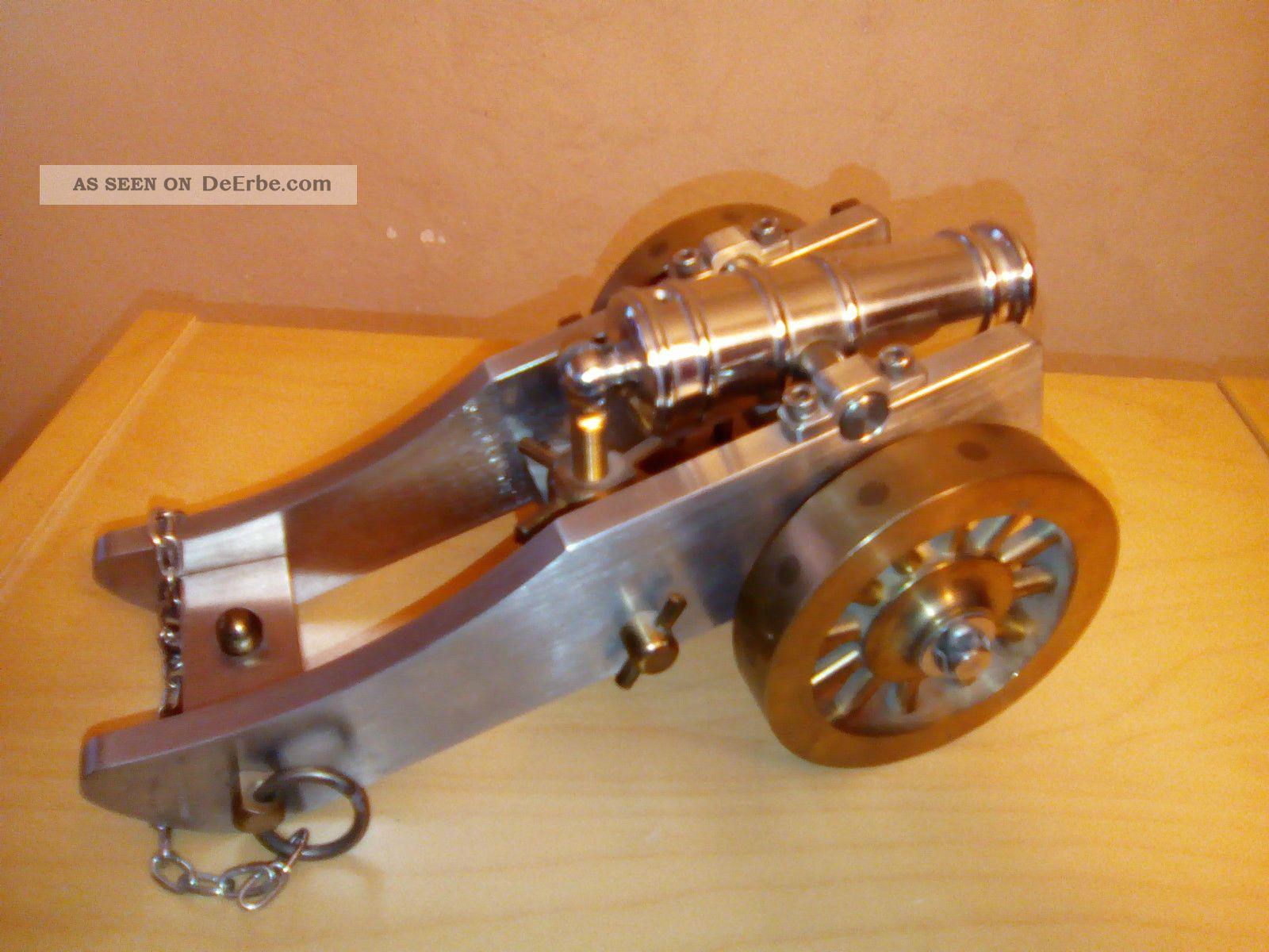 Kanone Lafette Standmodell Modellkanone Messingkanone Länge 22 Cm Gefertigt nach 1945 Bild