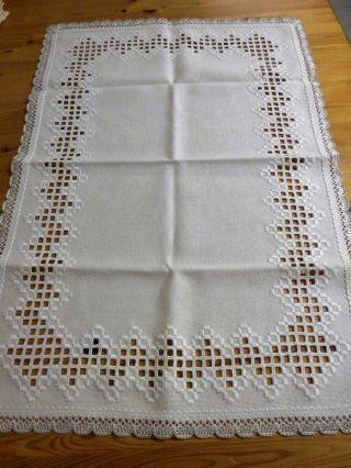 Tischläufer,  Creme - Weiß,  Spitze,  Hardanger - Handarbeit,  48 X 70 Cm Bild
