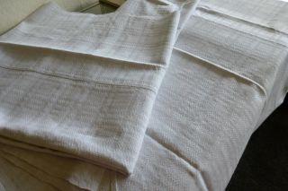 2 Leinentücher Durchgewebtes Leinen Vernäht Schönes Muster Um 1910 Bild