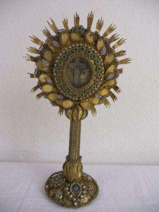 Sehr Alte Klosterarbeit,  Monstranz,  Reliquiar,  Kreuzpartikel,  Venedig,  Rarität Bild