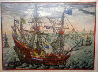 Grafik,  Kupferstich,  Engl.  Kriegsschiff Feuert,  Wohl 17.  Jhdt. Bild
