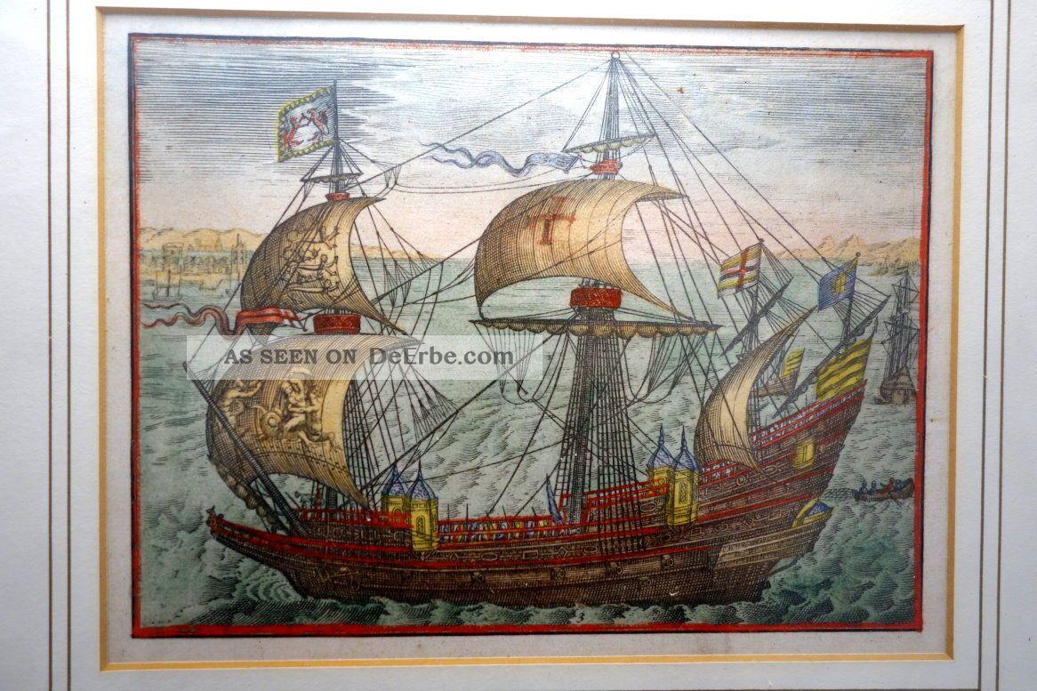 Grafik,  Kupferstich,  Engl.  Kriegsschiff Quer Ab,  Wohl 17.  Jhdt. Grafik, Drucke Bild