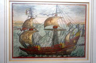 Grafik,  Kupferstich,  Engl.  Kriegsschiff Quer Ab,  Wohl 17.  Jhdt. Bild