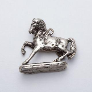 Alter Charivari Anhänger Pferd M.  Sockel Dachauer Tracht Uhrkette Massiv Silber Bild
