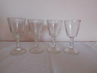 4 Antik Pressgläser - Weingläser - Süßweinglas - Tropfenstiel - Gründerzeit 1880 - 1920 Bild