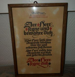 Franz Von Assissi Der Herr Segne Und Bewahre Dich Bild Holz Gerahmt Haussegen Bild