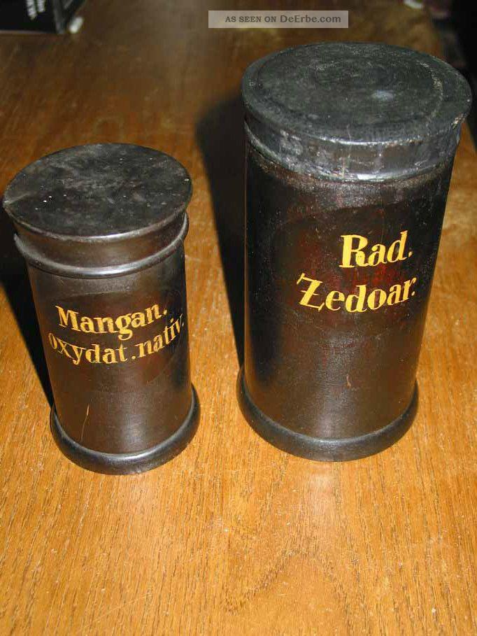 Zwei Originale Apothekerdosen Aus Holz,  Holzdosen,  Apothekendosen Arzt & Apotheker Bild