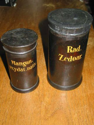 Zwei Originale Apothekerdosen Aus Holz,  Holzdosen,  Apothekendosen Bild