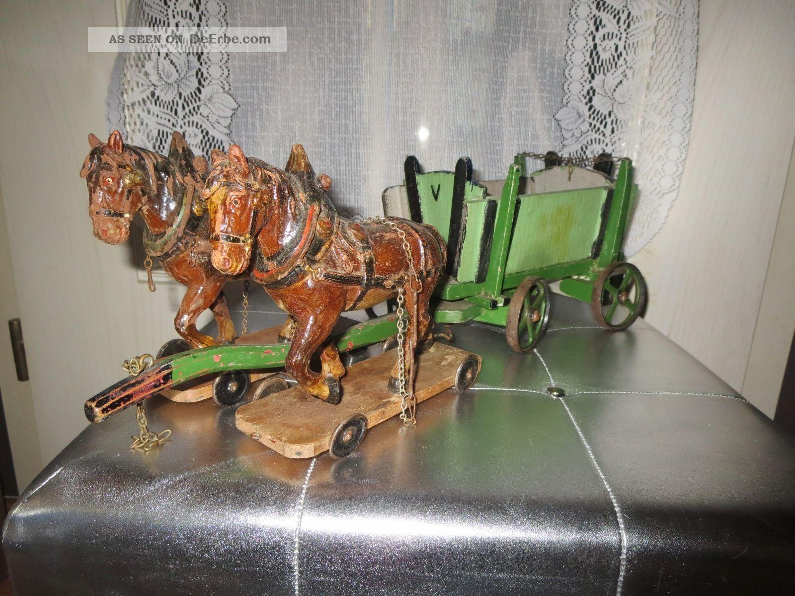 Antikes Gespann Von 1900 Mit 2 Elastolin Pferden Und Pferdewagen Elastolin & Lineol Bild