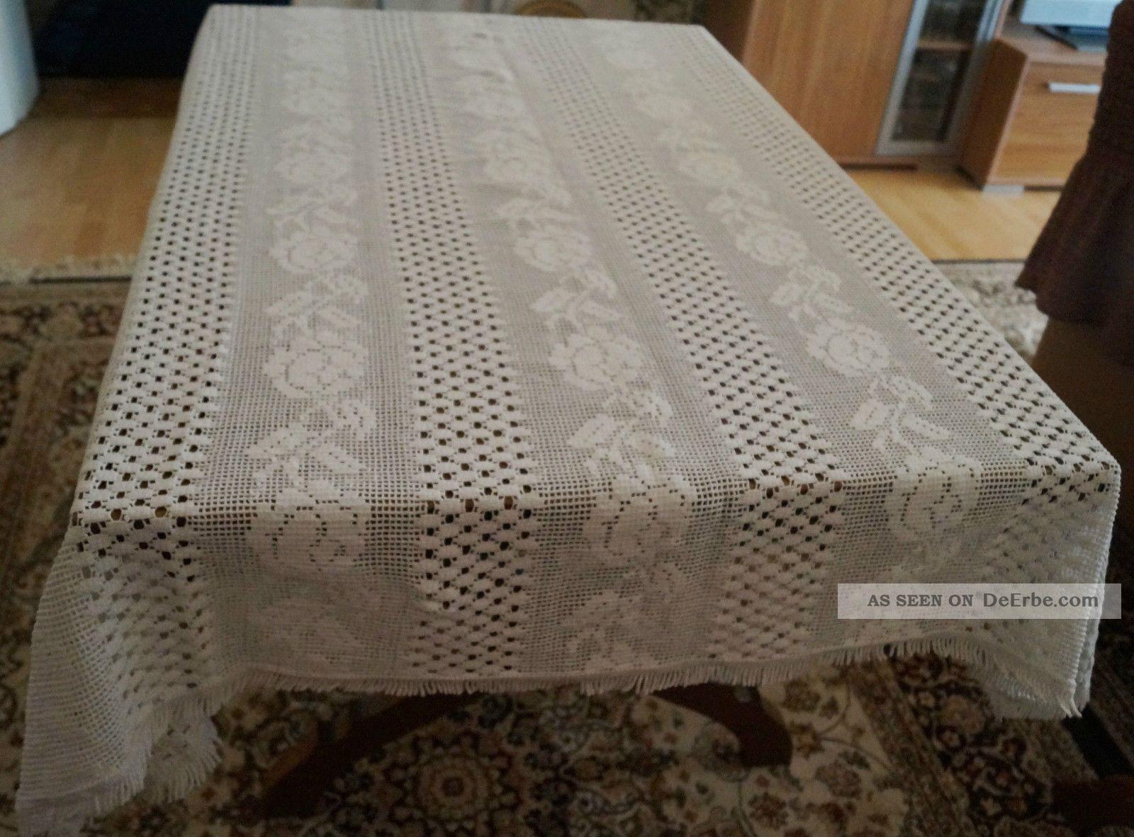 webdecke decke tischdecke rechteckig 143 x 169 wei berwurf baumwolle shabby. Black Bedroom Furniture Sets. Home Design Ideas