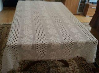 Webdecke Decke Tischdecke Rechteckig 143 X 169 Weiß Überwurf Baumwolle Shabby Bild